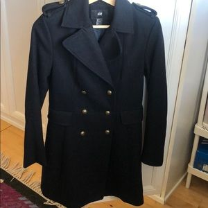 H&M black double breasted pea coat